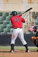 Jake Burger (31) of the Kannapolis Intimidators at bat against the Greensboro Grasshoppers at Kannapolis Intimidators Stadium on August 13, 2017 in Kannapolis, North Carolina.  The Grasshoppers defeated the Intimidators 4-1 in 10 innings in the completion of a game suspended on August 12, 2017.  (Brian Westerholt/Four Seam Images)