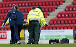 St Johnstone v Motherwell…21.11.20   McDiarmid Park      SPFL<br />Murray Davidson gets is stretchered off after a bad landing <br />Picture by Graeme Hart.<br />Copyright Perthshire Picture Agency<br />Tel: 01738 623350  Mobile: 07990 594431