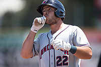 Lancaster JetHawks first baseman Roberto Ramos (22) holds at first base for a single during a California League game against the San Jose Giants at San Jose Municipal Stadium on May 13, 2018 in San Jose, California. San Jose defeated Lancaster 3-0. (Zachary Lucy/Four Seam Images)