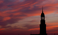 Germany - Hamburg - Ohlsdorf: church tower of St. Michaelis at sunset - 14.01.2008