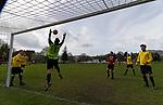 Keswick 1 Kendal 1, 15/04/2017. Fitz Park, Westmoreland League. The Kendal goalkeeper juggles a high ball. Photo by Paul Thompson.