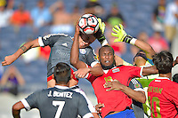 Action photo during the match Costa Rica vs Paraguay, Corresponding Group -A- America Cup Centenary 2016, at Citrus Bowl Stadium<br /> <br /> Foto de accion durante el partido Estados Unidos vs Colombia, Correspondiante al Grupo -A-  de la Copa America Centenario USA 2016 en el Estadio Citrus Bowl, en la foto: (i-d) Kendall Waston de Costa Rica y Justo Villar de Paraguay<br /> <br /> <br /> <br /> 04/06/2016/MEXSPORT/Isaac Ortiz.