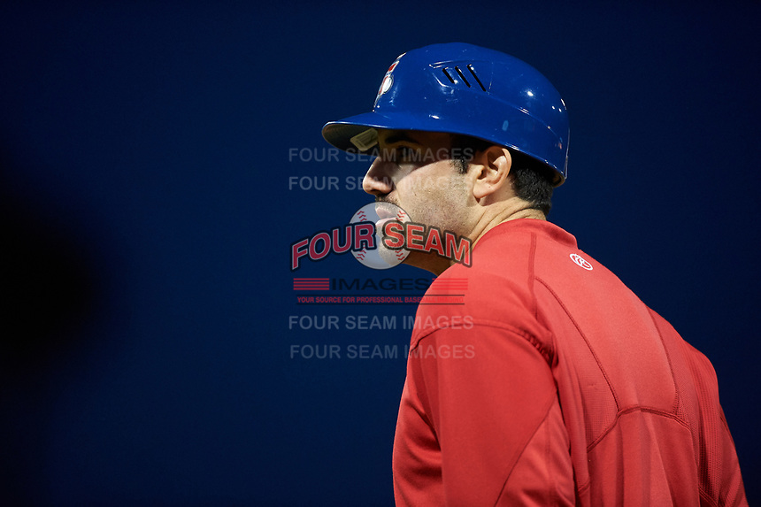 Stockton Ports catcher Jason Goldstein (18) coaches first base during a California League game against the Rancho Cucamonga Quakes at Banner Island Ballpark on May 16, 2018 in Stockton, California. Rancho Cucamonga defeated Stockton 6-3. (Zachary Lucy/Four Seam Images)