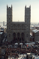 December 61, 1989 File Photo - Funeral are held at Notre-dame Basilica for the 28 students from Ecole Polytechnic (school)  killed by  Twenty-five-year-old Marc Lepine, armed with a legally obtained Mini-14 rifle and a hunting knife,  before killing himself.<br /> <br /> Photo : (c) Rob Gallbraith, 1989