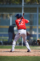 Boston Red Sox Ryan Court (12) bats during a minor league Spring Training game against the Baltimore Orioles on March 16, 2017 at the Buck O'Neil Baseball Complex in Sarasota, Florida. (Mike Janes/Four Seam Images)