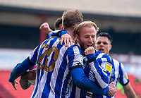 20th March 2021, Oakwell Stadium, Barnsley, Yorkshire, England; English Football League Championship Football, Barnsley FC versus Sheffield Wednesday; Barry Bannan of Sheffield Wednesday clenches fist as he celebrates Jordan Rhodes of Sheffield Wednesday opening goal after 38 minutes