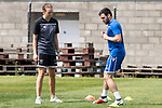 St Johnstone Training….22.02.19  McDiarmid Park, Perth<br />Drey Wright pictured back in training after his long injury lay off under the watchful eye of physio Mel Stewart<br />Picture by Graeme Hart.<br />Copyright Perthshire Picture Agency<br />Tel: 01738 623350  Mobile: 07990 594431