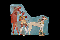 Mycenaean Fresco wall painting of a Mycanaean footman leading a horse & hunting dog,  Tiryns, Greece. 14th - 13th Century BC. Athens Archaeological Museum. Cat No 5878.  Black Background