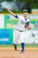 Burlington Royals starting pitcher Jake Newberry (34) in action against the Elizabethton Twins at Burlington Athletic Park on August 11, 2013 in Burlington, North Carolina.  The Twins defeated the Royals 12-5.  (Brian Westerholt/Four Seam Images)