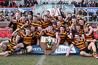 2015 ULSTER SCHOOLS CUP FINAL | Tuesday 17th March 2015<br /> <br /> RBAI celebrate after winning the 2015 Ulster Schools Cup Final between RBAI and Wallace High School at the Kingspan Stadium, Ravenhill Park, Belfast, Count Down, Northern Ireland.<br /> <br /> Picture credit: John Dickson / DICKSONDIGITAL