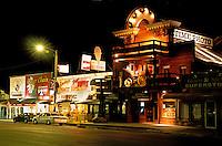 Night street scene downtown Keystone South Dakota gateway to Mount Rushmore.
