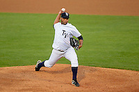 Tampa Yankees pitcher Joel De La Cruz #34 during a game against the Lakeland Flying Tigers at Steinbrenner Field on April 6, 2013 in Tampa, Florida.  Lakeland defeated Tampa 8-3.  (Mike Janes/Four Seam Images)