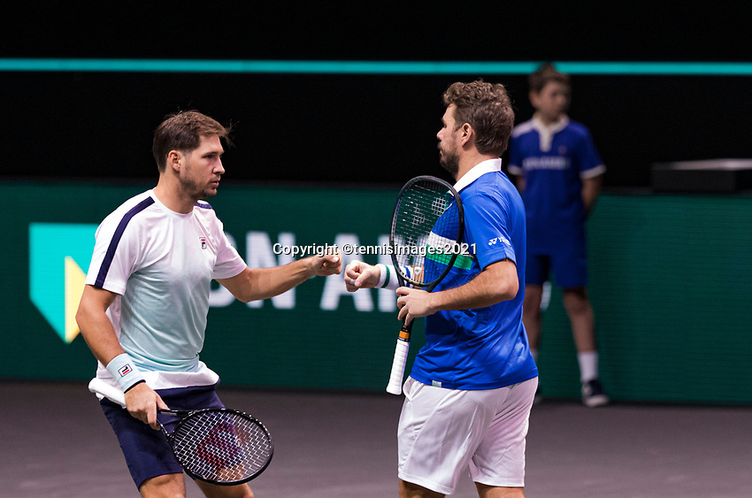 Rotterdam, The Netherlands, 28 Februari 2021, ABNAMRO World Tennis Tournament, Ahoy, First round doubles: Dusan Lajovic (SRB) / Stan Wawrinka (SUI).<br /> Photo: www.tennisimages.com/henkkoster