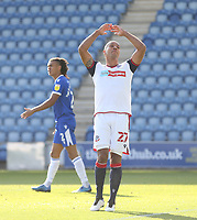 Dejection for Bolton Wanderers' Alex Baptiste after his second half header was ruled out for offside<br /> <br /> Photographer Rob Newell/CameraSport<br /> <br /> The EFL Sky Bet League Two - Colchester United v Bolton Wanderers - Saturday 19th September 2020 - Colchester Community Stadium - Colchester<br /> <br /> World Copyright © 2020 CameraSport. All rights reserved. 43 Linden Ave. Countesthorpe. Leicester. England. LE8 5PG - Tel: +44 (0) 116 277 4147 - admin@camerasport.com - www.camerasport.com
