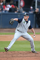 Kyle Anderson #35 of the Hillsboro Hops pitches against the Vancouver Canadians at Nat Bailey Stadium on July 24, 2014 in Vancouver, British Columbia. Vancouver defeated Hillsboro, 5-2. (Larry Goren/Four Seam Images)