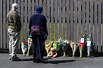© Joel Goodman - 07973 332324 . 09/07/2017 . Bolton , UK . Flowers and a teddy bear left opposite the scene on Rosamond Street in Daubhill , where a fatal house fire burned through a mid-terrace house yesterday morning (Saturday 8th July 2017) . Anisha Umerji (40) her two sons Hammad (12) and Yusuf (ten) and her daughter Khadija (five) all died in the blaze. Their father Zubair (Anisha's husband) remains in hospital . Photo credit : Joel Goodman