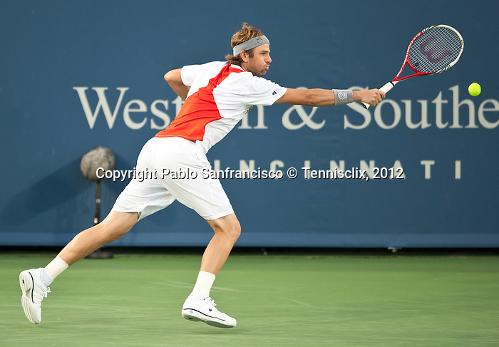 Mardy Fish of the US at the Western & Southern Open in Mason, OH on August 17, 2012.