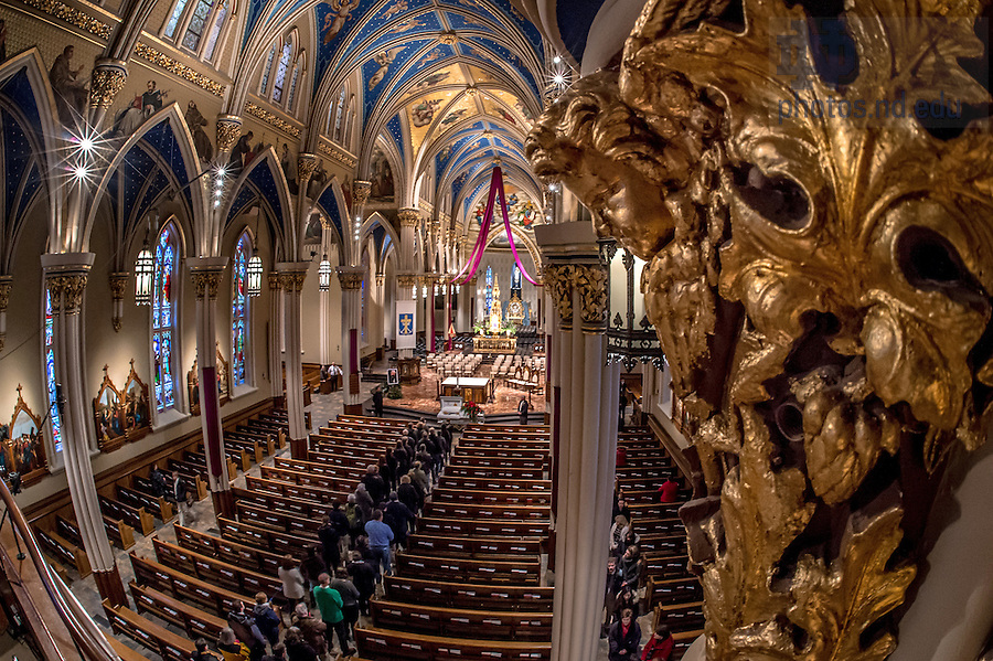 Mar. 4, 2015; Visitation of the late President Emeritus Rev. Theodore M. Hesburgh, C.S.C. in the Basilica of the Sacred Heart. (Photo by Matt Cashore/University of Notre Dame)