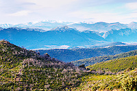 Maury. Roussillon. Vineyards. Spectacular view over the mountains. France. Europe. Mountains in the background.