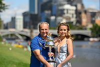 January 2, 2020: SOFIA KENIN (USA) poses for photographs with her father Alex Kenin beside the Yarra River with her trophy as the Women's Singles champion of the Australian Open 2020 in Melbourne, Australia. Photo Sydney Low