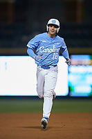 Clemente Inclan (18) of the North Carolina Tar Heels hustles towards third base against the Charlotte 49ers at BB&T BallPark on March 27, 2018 in Charlotte, North Carolina. The Tar Heels defeated the 49ers 14-2. (Brian Westerholt/Four Seam Images)