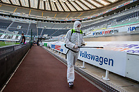 A member of the Newcastle United team cleans the stadium<br /> <br /> Photographer Alex Dodd/CameraSport<br /> <br /> The Premier League - Newcastle United v Aston Villa - Wednesday 24th June 2020 - St James' Park - Newcastle <br /> <br /> World Copyright © 2020 CameraSport. All rights reserved. 43 Linden Ave. Countesthorpe. Leicester. England. LE8 5PG - Tel: +44 (0) 116 277 4147 - admin@camerasport.com - www.camerasport.com