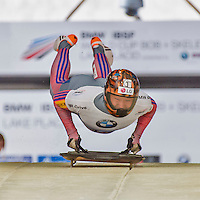 9 January 2016: Hansin Lee, competing for South Korea, pushes off for his first run start of the BMW IBSF World Cup Skeleton race at the Olympic Sports Track in Lake Placid, New York, USA. Lee ended the day with a combined 2-run time of 1:51.62 and a 19th place overall finish. Mandatory Credit: Ed Wolfstein Photo *** RAW (NEF) Image File Available ***