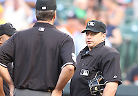 Home plate umpire  Andy Fletcher before a MLB game between the Baltimore Orioles and the Seattle Mariners at Camden Yards, on August 8 2010, in Baltimore, Maryland.