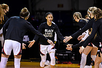 SANTA CRUZ, CA - JANUARY 22: Anna Wilson #3 being introduced before the Stanford Cardinal women's basketball game vs the UCLA Bruins at Kaiser Arena on January 22, 2021 in Santa Cruz, California.