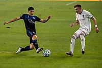 SAN JOSE, CA - SEPTEMBER 05: Cristian Espinoza #10 and Sam Vines #13 during a game between Colorado Rapids and San Jose Earthquakes at Earthquakes Stadium on September 05, 2020 in San Jose, California.