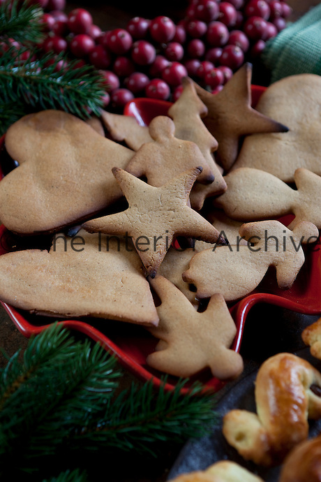 Detail of a plate of traditional Swedish Christmas cookies