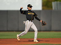 Montverde Academy Eagles second baseman Edian Negron (21) throws to first base during a game against the IMG Academy Ascenders on April 8, 2021 at IMG Academy in Bradenton, Florida.  (Mike Janes/Four Seam Images)