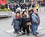 "Alex Johnston, Amber Johnston and Trent Johnston from The cast of TLC's ""7 Little Johnstons"" filming promoting filming a visit to Times Square on January 4, 2019 in New York City."