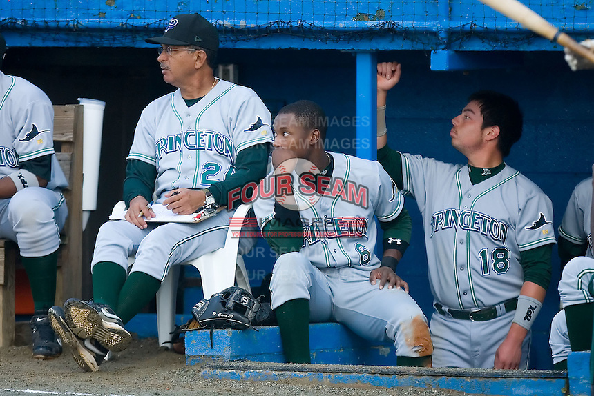 Tim Beckham (6) watches the game from the top of the visitors dugout at Burlington Athletic Park in Burlington, NC, Wednesday, August 13, 2008. (Photo by Brian Westerholt / Four Seam Images)