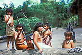 Ipixuna village, Amazon, Brazil. Arawete family sitting on a log by their house and food plot.