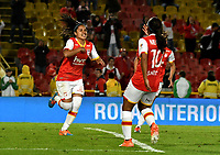 BOGOTA - COLOMBIA - 27 - 05 - 2017: Las jugadoras de Independiente Santa Fe, celebran el gol anotado a America de Cali, durante partido de vuelta por los cuartos de final entre Independiente Santa Fe y America de Cali, por la Liga Femenina Aguila 2017, en el estadio Nemesio Camacho El Campin de la ciudad de Bogota. / The players of Independiente Santa Fe, celebrate a goal scoring to America de Cali, during a match of the second round of the  quarters of finals for the Liga Femenina Aguila 2017, between Independiente Santa Fe and America de Cali, at the Nemesio Camacho El Campin Stadium in Bogota city, Photo: VizzorImage / Luis Ramirez / Staff.