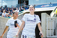 CARY, NC - SEPTEMBER 12: Marissa Everett #40 and Morgan Weaver #22 of the Portland Thorns head to the bench before a game between Portland Thorns FC and North Carolina Courage at WakeMed Soccer Park on September 12, 2021 in Cary, North Carolina.
