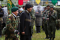 Cochabamba, Bolivia<br /> A picture dated December 19, 2012 shows Bolivian President Evo Morales attending a military ceremony in the coca growing region of Chapare.