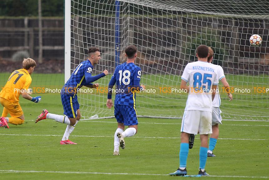 Harvey Vale celebrates scoring Chelsea's second goal during Chelsea Under-19 vs FC Zenit Under-19, UEFA Youth League Football at Cobham Training Ground on 14th September 2021