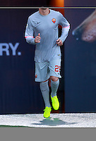 Calcio, amichevole Roma vs Fenerbahce. Roma, stadio Olimpico, 19 agosto 2014.<br /> Roma goalkeeper Lukasz Skorupski, of Poland, arrives for the team's presentation, prior to the friendly match between AS Roma and Fenerbahce at Rome's Olympic stadium, 19 August 2014.<br /> UPDATE IMAGES PRESS/Isabella Bonotto