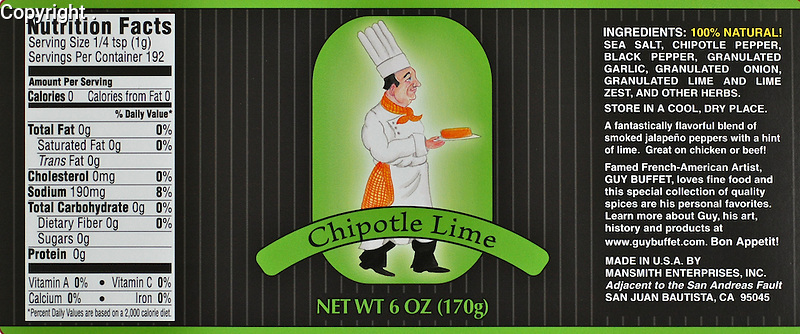 Guy Buffet Chipotle Lime Spice<br /> <br /> A fantastically flavorful blend of smoked jalapeno peppers with a hint of lime. Great on chicken or beef!<br /> Included in 4 pack <br /> $42 included shipping in Continental US