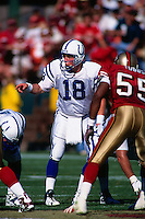 SAN FRANCISCO, CA - Peyton Manning of the Indianapolis Colts drops back to pass during a game against the San Francisco 49ers at Candlestick Park in San Francisco, California on October 18, 1998. (Photo by Brad Mangin)