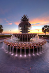 Charleston Pineapple Fountain Sunrise Downtown Charleston South Carolina Winter 2010 Colorful sky