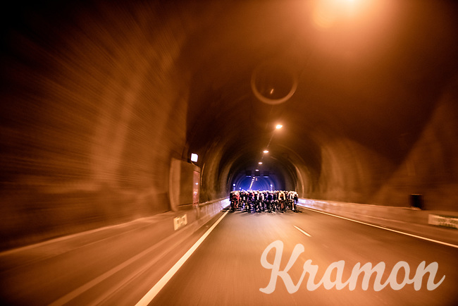 peloton passing through the 6,6km long Westerscheldetunnel (Western Scheldt Tunnel) straight after leaving Terneuzen<br /> <br /> 109th Scheldeprijs 2021 (ME/1.Pro)<br /> 1 day race from Terneuzen (NED) to Schoten (BEL): 194km<br /> <br /> ©kramon