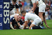 Gordon Reid of Scotland touches down for Scotland's first points during the RBS 6 Nations match between England and Scotland at Twickenham Stadium on Saturday 11th March 2017 (Photo by Rob Munro/Stewart Communications)