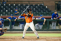 AZL Giants catcher Andres Angulo (1) at bat against the AZL Cubs in Game Three of the Arizona League Championship Series on September 7, 2017 at Scottsdale Stadium in Scottsdale, Arizona. AZL Cubs defeated the AZL Giants 13-3 to win the series two games to one. (Zachary Lucy/Four Seam Images)