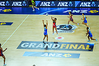 Tactix centre Kimiora Poi passes during the ANZ Premiership netball final between Northern Mystics and Mainland Tactix at Spark Arena in Auckland, New Zealand on Sunday, 8 August 2021. Photo: Dave Lintott / lintottphoto.co.nz