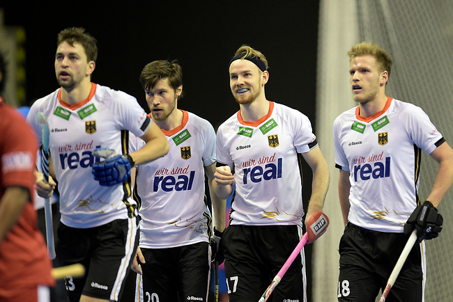 Berlin, Germany, February 09: During the FIH Indoor Hockey World Cup Pool A group match between Germany (white) and Trinidad and Tobago(red) on February 9, 2018 at Max-Schmeling-Halle in Berlin, Germany. Final score 10-2. (Photo by Dirk Markgraf / www.265-images.com) *** Local caption *** (L-R) Tobias HAUKE #13 of Germany Martin ZWICKER #20 of Germany, Christopher RUEHR #17 of Germany, Ferdinand WEINKE #18 of Germany