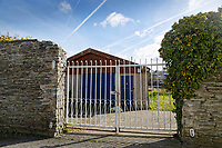 Pictured: The Scout hut next to river Teifi in Cardigan, west Wales, UK. Tuesday 20 March 2018<br /> Re: The funeral of two year old Kiara Moore, who died after being recovered from a silver Mini car found in river Teifi in Cardigan will be held today (Tue 27 Mar 2018) at Parc Gwyn Crematorium, Narberth, west Wales.<br /> Kiara was taken at the University Hospital of Wales in Cardiff after being rescued but was pronounced dead.<br /> It is believed the car she was in, rolled down a slipway while her mother got out momentarily to get cash out of the family business premises.<br /> Her parents Jet Moore and Kim Rowlands have expressed their grief on social media.