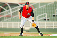 First baseman Ian Gac #33 of the Kannapolis Intimidators on defense against the Augusta GreenJackets at Fieldcrest Cannon Stadium June 24, 2010, in Kannapolis, North Carolina.  Photo by Brian Westerholt / Four Seam Images